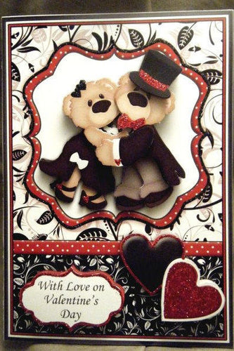 Dancing Bears Valentine or Anniversary 3D Card
