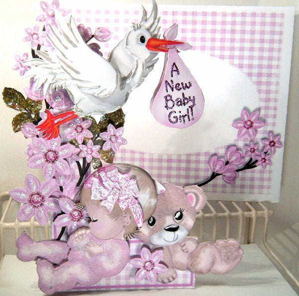 Flowers & Things New Baby Girl Card