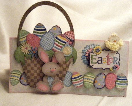 3D Easter Basket and Decorated Eggs Card - ITEM # ESTR002
