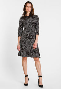 Leota Circle Dress with 3/4 Sleeve in Ocelot Grey
