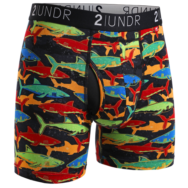 2Undr Swing Shift Boxer Brief Prints - Shark Fest