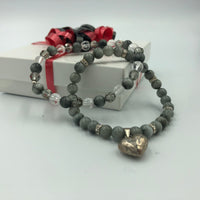 Joanna Bisley Swarovski Eagle Eye Bracelet with a silver heart