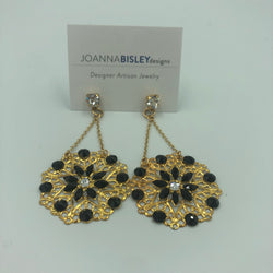 Joanna Bisley Donna Disc Earring in gold and black