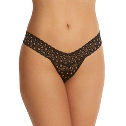 Hanky Panky Cross dyed Leopard  Black/Praline Thong