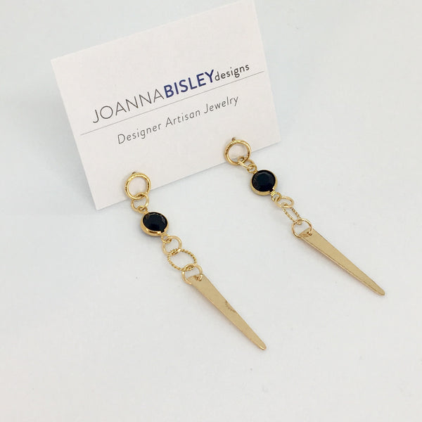 Joanna Bisley Jet Long Spike Swarovski Crystal on a Small Round Stud Earring E3618je