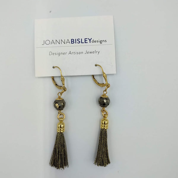 Joanna Bisley Gold Tassel earrings with Pyrite Centre