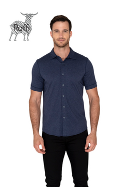Raffi Aqua Cotton Short Sleeve Button up