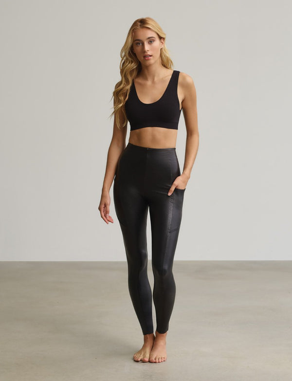 Commando Faux Leather Pocket Legging