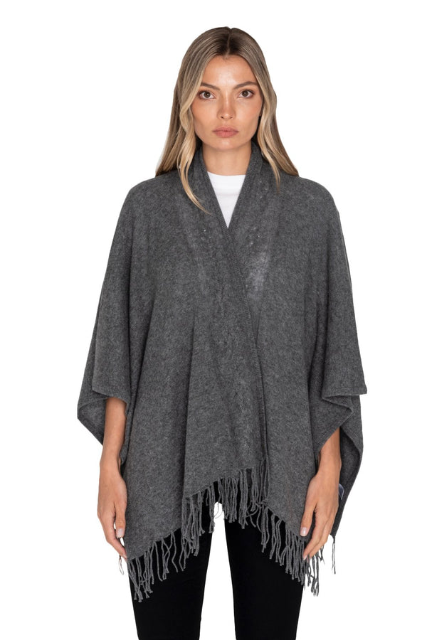 Raffi Cable Cashmere Poncho w/ Fringe