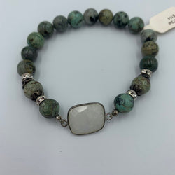 Joanna Bisley African Turquoise, moonstone and Sterling Silver Bracelet