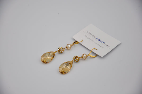 Joanna Bisley Golden Shadow Teardrop 22mm with Fireball Earrings