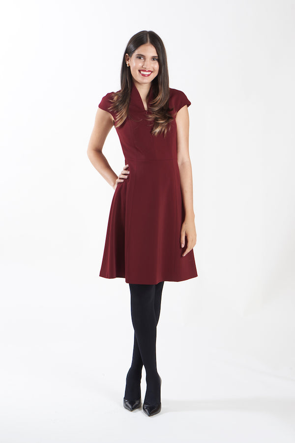 Nora Gardner Evelyn Fit & Flare Dress Merlot