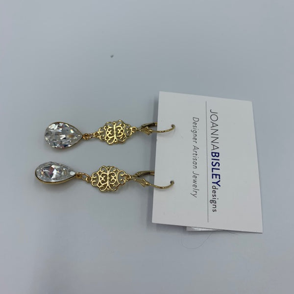 Joanna Bisley Gold and Clear Swarovski Crystal Scroll Earring