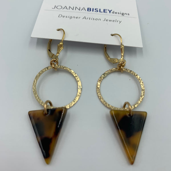 Joanna Bisley Tortoise Shell Spike Swarovski Crystal Goldfill Circle and leverback Earrings