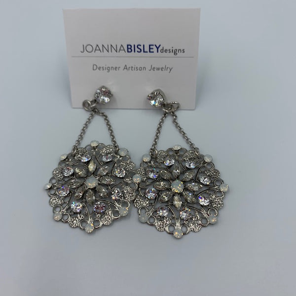 Joanna Bisley Swarovski Crystal Rhodium Drop Circle Earring