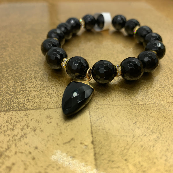Joanna Bisley Large Black Onyx with Black Spike and Swarovski Crystals