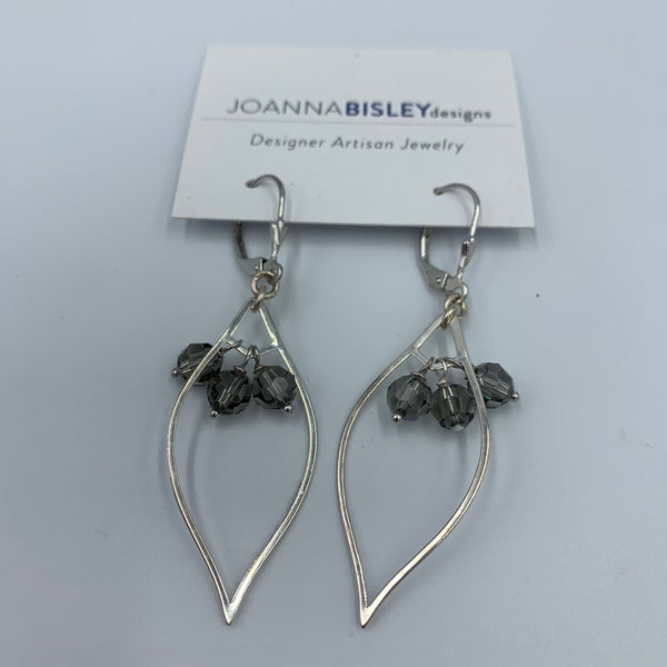 Joanna Bisley Lotus Drop Sterling Silver, and Black Diamond Swarovski  Earring E3615bd