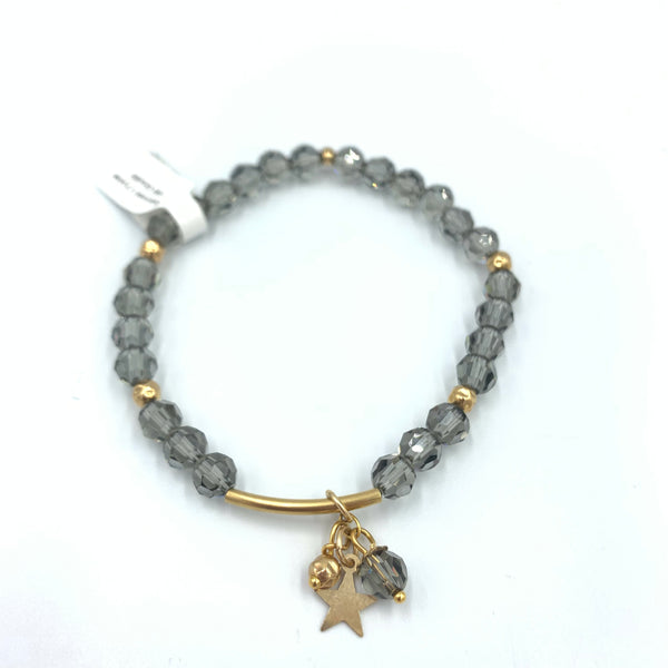 Joanna Bisley Black Diamond Grey 6mm with Goldfill Tube, Stars, and Beads Bracelet B3625