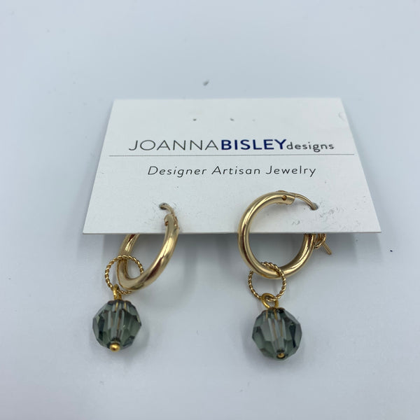 Joanna Bisley Small 14kt Goldfill Hoops with BD 8mm and 7mm Decorative Circle Earring E3617bd