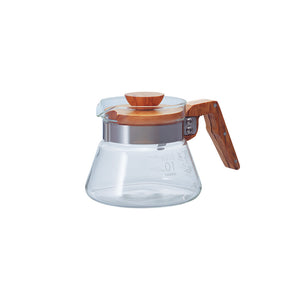 Hario V60 Glass Coffee Server 01 Olive Wood 400ml