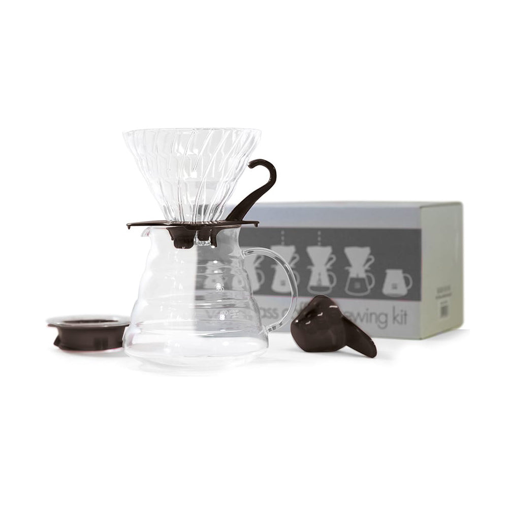 V60 Glass Coffee Brewing Kit Black Clear 02
