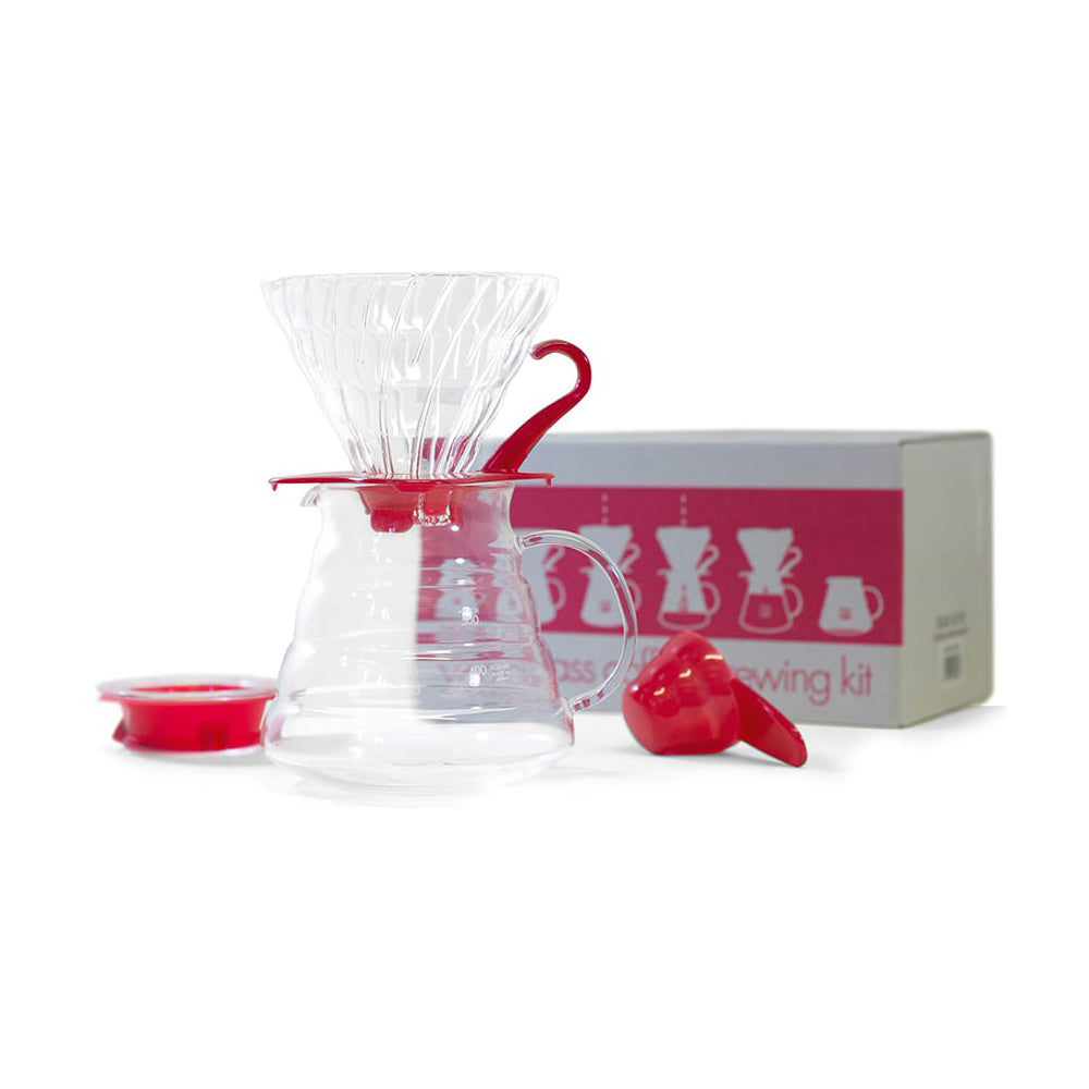 V60 Glass Coffee Brewing Set Red Clear 02