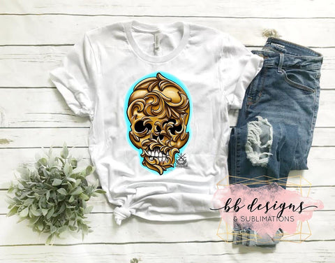 Golden Skull Tattoo Tee | Art by Abdiel Tattoo