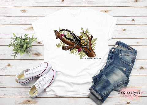 Turtle Rhino Beetle Tattoo Tee | Art by Veronica Dey Tattoo