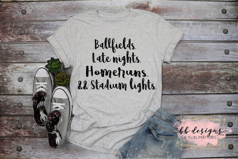 Baseball Tee | Softball Shirt | Late Night Ball Field T-shirt