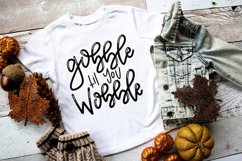 Gobble Til You Wobble Kids Tee | Thanksgiving Design