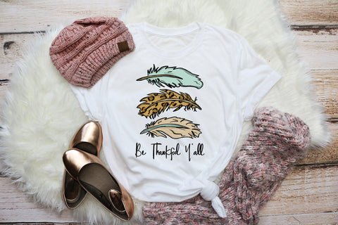 Be Thankful Y'all Adult Tee | Thanksgiving Design