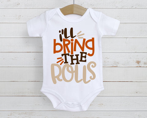 I'll Bring The Rolls Funny Baby Tee | Thanksgiving Design