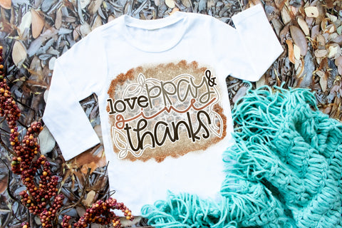 Love, Pray & Give Thanks Baby Tee | Thanksgiving Design