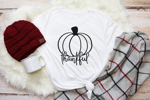 Thankful With Pumpkin Adult Tee | Thanksgiving Design