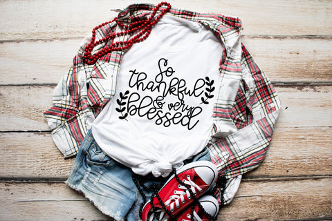 So Thankful & Very Blessed Adult Tee | Thanksgiving Design