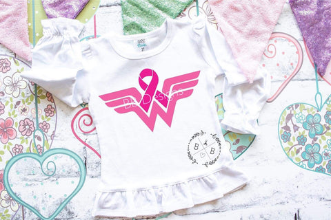 Wonder Woman Pink Ribbon Tee | Breast Cancer Awareness Baby Design