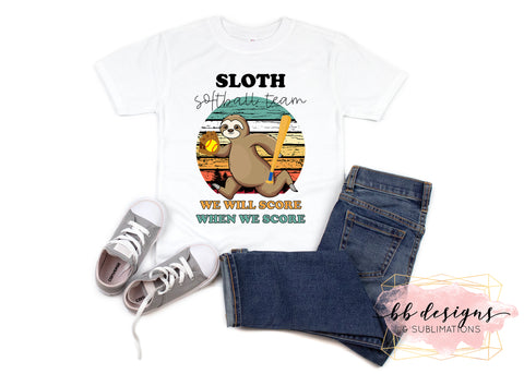Sloth Softball Tee | Silly Sport Shirt | Softball T-shirt