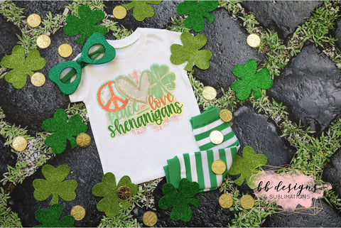 St. Patrick's Day shirt | Peace Love Shenanigans with background Tee