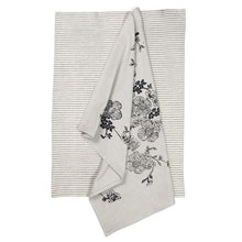 Load image into Gallery viewer, Rose Garden Charcoal Tea Towel Pack Set of 2