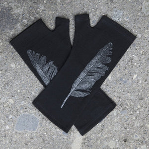 Black Feather Print Merino Fingerless Gloves