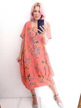 Load image into Gallery viewer, Hot Coral Butterfly Mid Sleeve Maxi