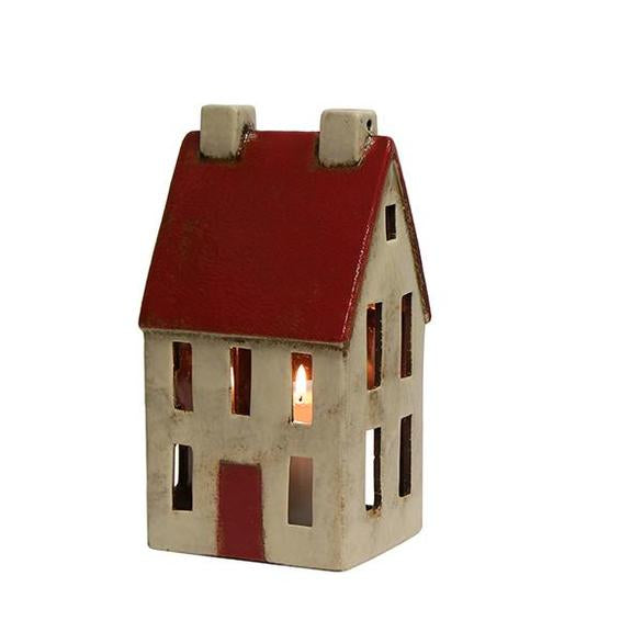 Tall Red and White Tea Light House
