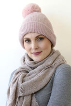 Load image into Gallery viewer, Blush Pink Pompom Beanie/ Neck Scarf