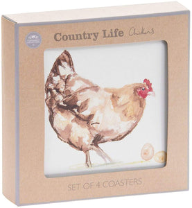 Set of 4 Country Life Hen & Roaster Coasters