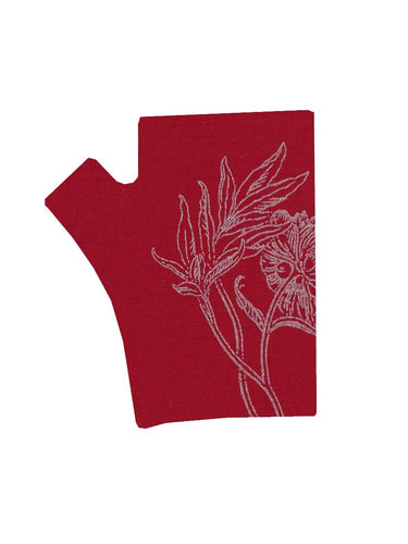 Red Peony Hobo Length Printed Merino Fingerless Gloves