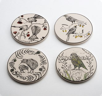 Coasters NZ native birds Set of 4