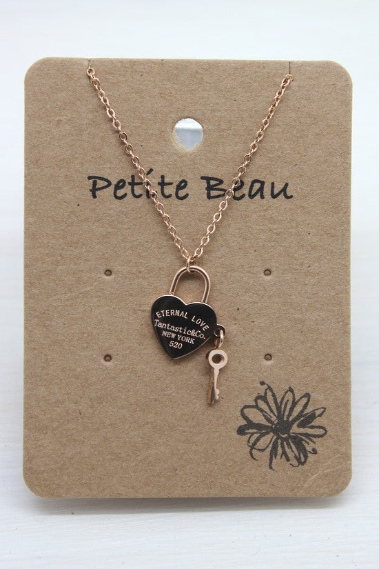 Petite Rose Gold Keyheart Necklace