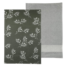 Load image into Gallery viewer, Olive Green Olive Grove Tea Towel Pack Set of 2