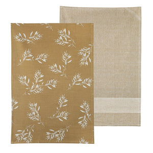 Mustard Olive Grove Tea Towel Pack Set of 2