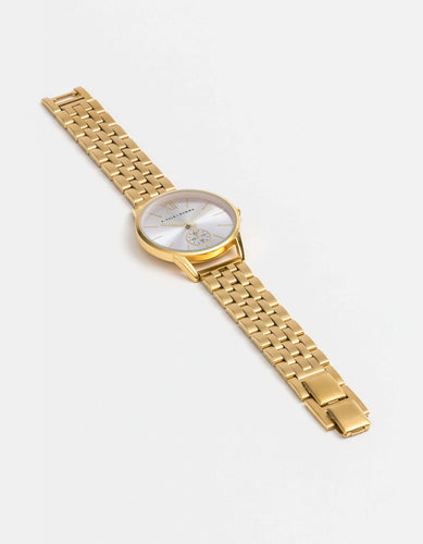Gold Watch with Lilac Face